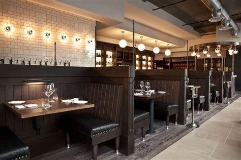 a row of 10 booths divides the dining room in half