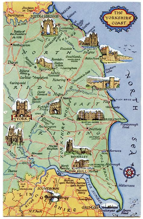 postcard map   yorkshire coast   postcards