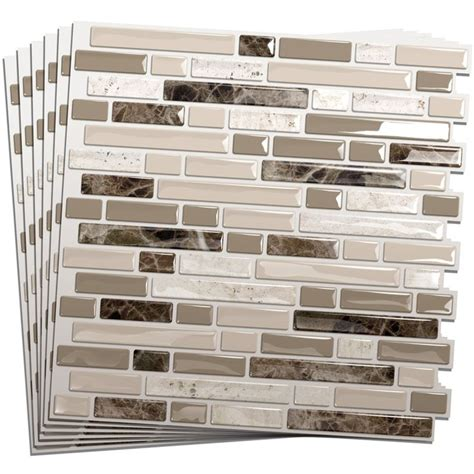 Peel And Stick Subway Tile Wallpaper by Smart Tiles 6 Pack White Beige Brown Glossy Composite