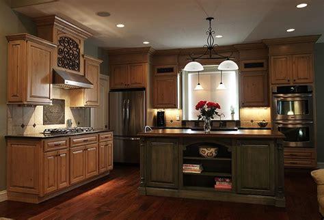 perimeter cabinets caramel knotty alder  mocha glaze