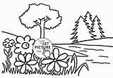 Coloring Spring River Flower Seasons Printables Wuppsy Tree Printable Creation Bible sketch template