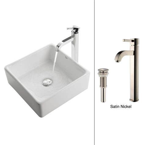 kraus square ceramic vessel sink in white with ramus