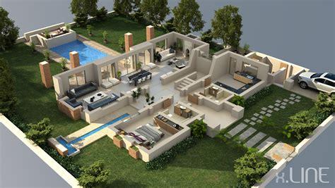 Luxury Villas Floor Plans Pool Villa 3d Plan Bungalow