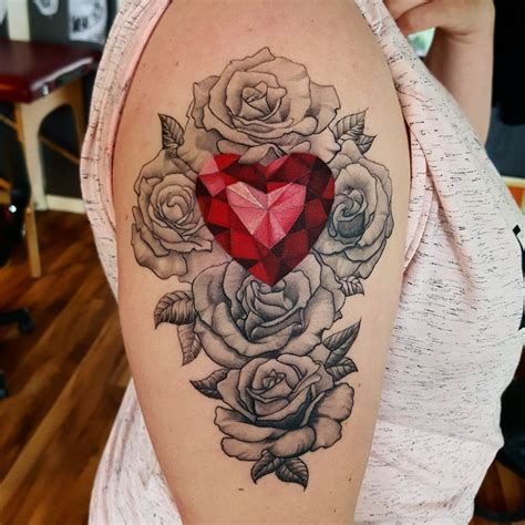 diamond heart  rose tattoo   atrustemhorzum
