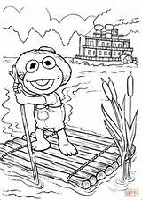 Coloring Pages Baby Kermit Elmo Sailing Raft Tom Sawyer Muppet Printable Silhouettes Babies Paper Muppets Drawing sketch template