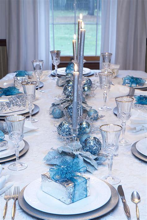 christmas holiday table setting blue white stock image