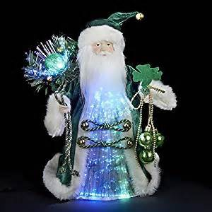 amazon com 12 quot luck of the irish green and gold fiber optic santa claus christmas tree topper