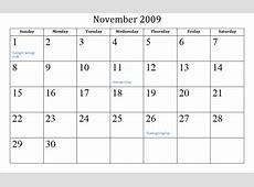 November 2009 calendar Mrs Case's Blog