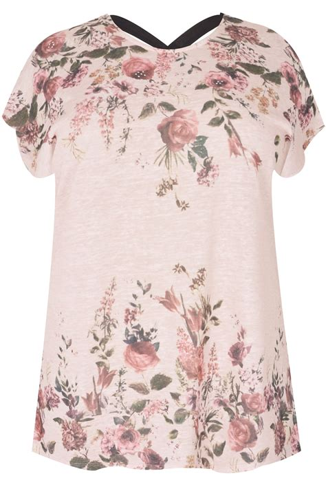 floral cross forms pink floral print top with cross over back plus size 16 to 36