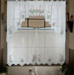 embroidery valance sheer tulle window curtains for kitchen bedroom curtains tier set panel