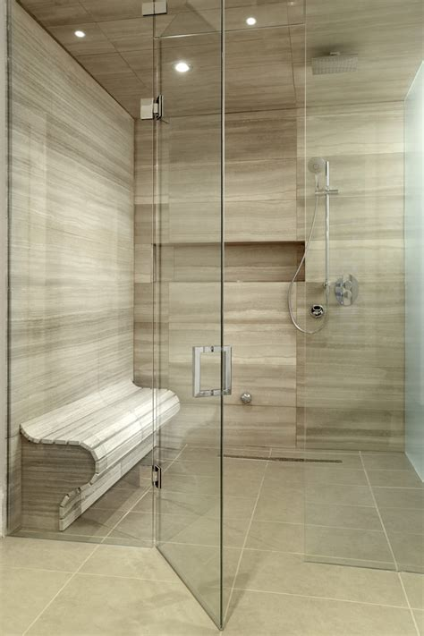Tile Shower Bench Bathroom Contemporary With Bamboo