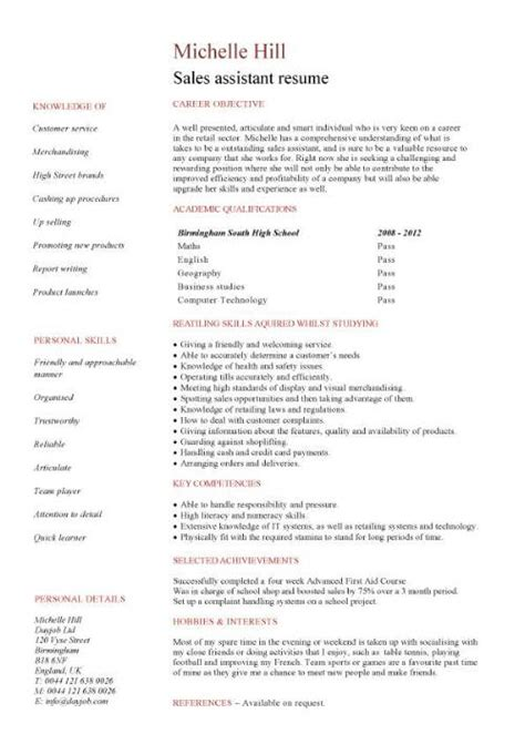 Free Student Resume Sles by Retail Sales Assistant Cv