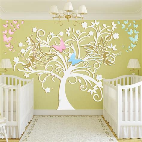 autocollant chambre fille stickers chambre bébé arbre et fées un sticker mural