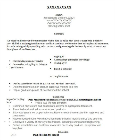 Apprentice Hairdresser Resume Sle by Cosmetologist Resume Sle And Tips