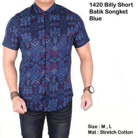 jual kemeja batik songket pria cowo kerja kantor biru tuadongker di lapak muhammad ilyas anhy679