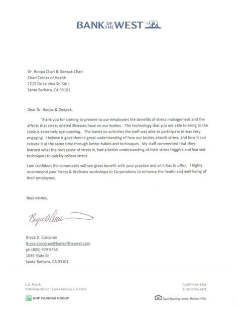 endorsement letter bank   west