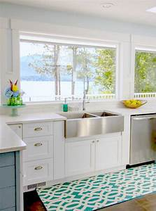 gorgeous coastal style white shaker kitchen with aqua blue With kitchen colors with white cabinets with happy holidays stickers