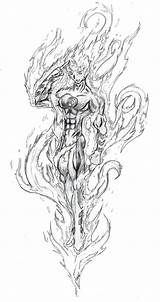 Torch Human Coloring Template Deviantart Standing Results sketch template