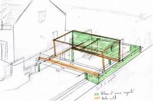 Extension ossature bois et acier Maitre d'oeuvre dessin plan permis construire maison étude