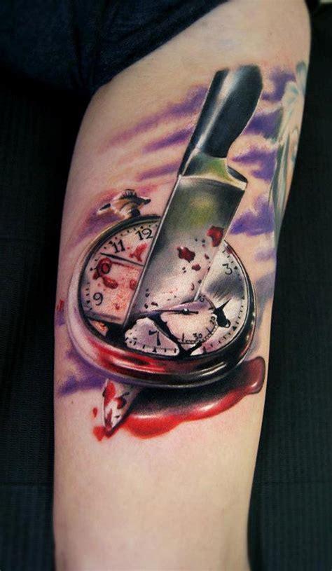 tatouage cuisine tatouage montre avec couteau inkage