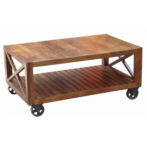 shop table on wheels acacia wood industrial style coffee table on wheels