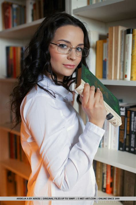Ardelia Alina Takes Her Panties Off In The Library Of