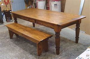 Oak Wood Farmhouse Table with Optional Drawer and Bench