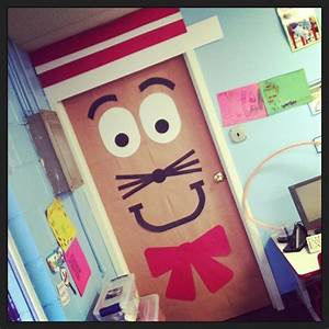 Cat in the hat classroom door for dr seuss39 birthday for Cat bathroom door