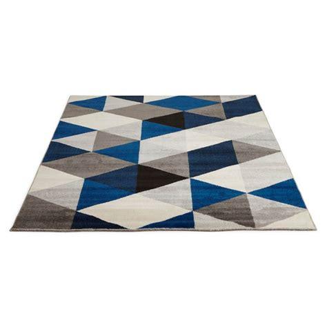 Tapis Bleu Gris Jaune by Tapis Design Style Scandinave Rectangulaire Geo 230cm X