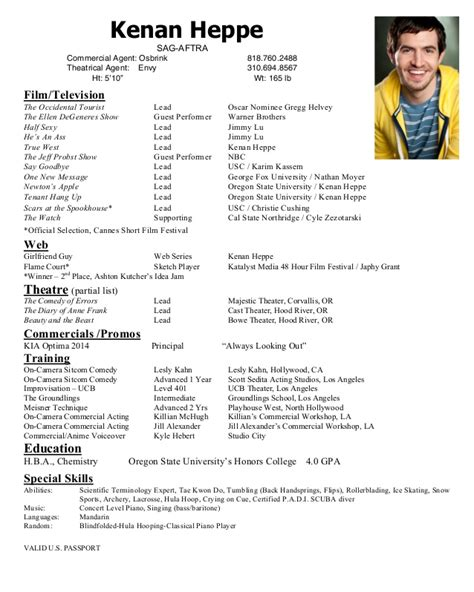 Talent Agency Assistant Resume by Kenan Heppe Acting Resume