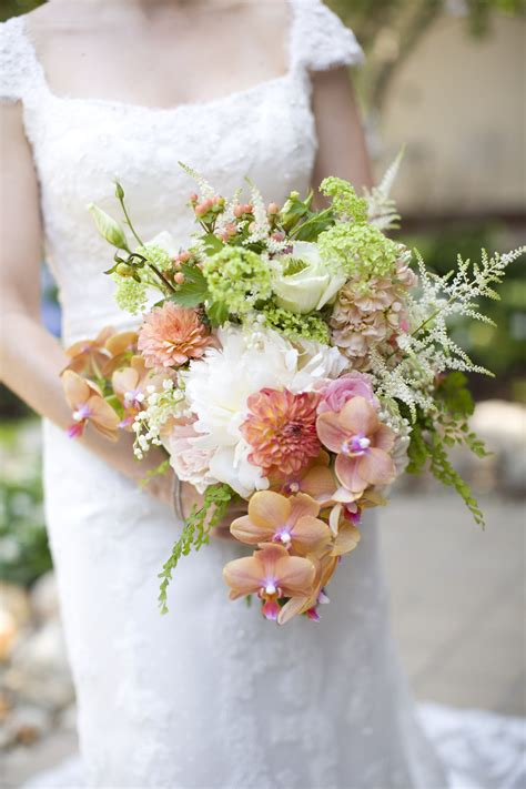 Whimsical Coral Peony And Orchid Bouquet In 2020