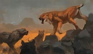 Dire Wolf pack vs. Sabertooth cat by Raph04art on DeviantArt