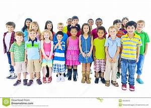 Group Of Children Standing In Line Stock Photo - Image ...