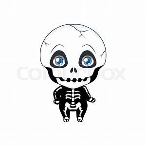 Cute Halloween Skeleton Illustration