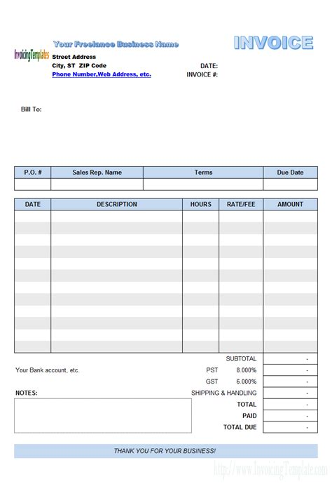 Excel Invoice Template Freelance Invoice Template Excel Invoice Exle