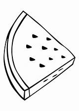 Watermelon Coloring Pages Triangle Slice Shape Summer Drawing Objects Food Worksheets Azcoloring sketch template
