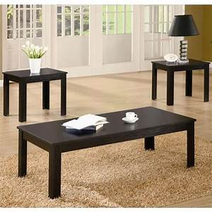 coaster casual 3 piece occasional table set in black 700225 With 3 piece coffee table set black