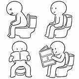Toilet Man Vector Sitting Drawings Clip Flush Cartoon Illustration Clipart Illustrations Doodle Royalty Using Bathroom Drawn Hand Gograph sketch template