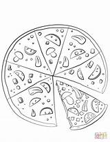Pizza Coloring Pages Sliced Drawing Printable Paper sketch template