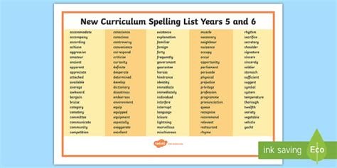 national curriculum spelling list years
