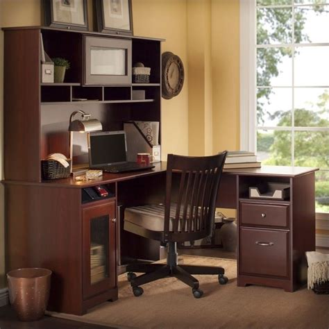 l shaped computer desk with hutch bush cabot 60 quot l shaped w hutch harvest cherry computer