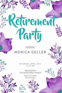 Floral Retirement Party Poster Template  Click To