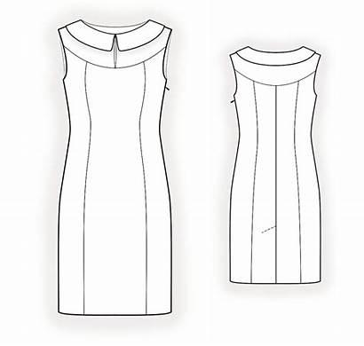 Pattern Collar Sewing Drawing Technical Dresses Lekala