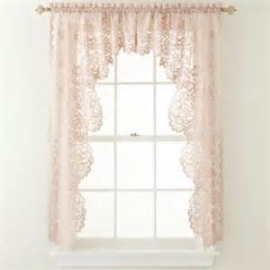 home shari 2 pack lace rod pocket cascade valance lace home and bays