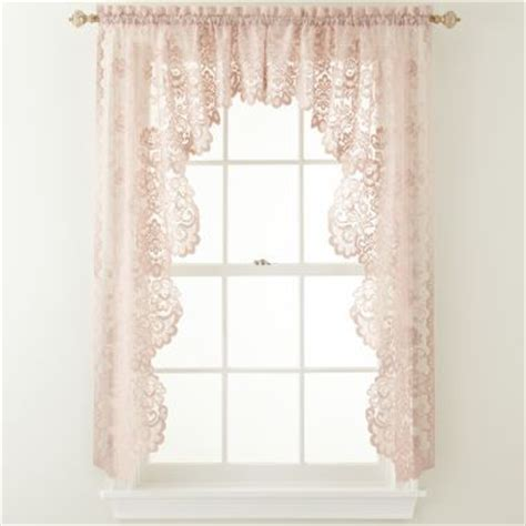 jcpenney white lace curtains home shari 2 pack lace rod pocket cascade valance lace