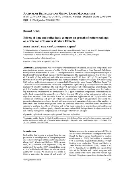 And how do coffee grounds used for gardens help or hurt? (PDF) Effects of lime and coffee husk compost on growth of coffee seedlings on acidic soil of ...