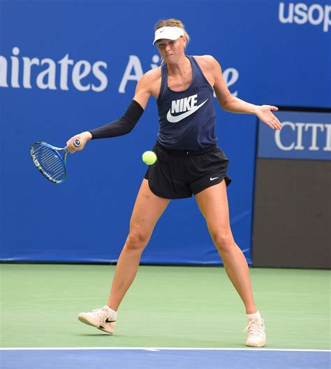 Maria Sharapova Practicing At Arthur Ashe Stadium At Usta