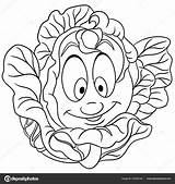 Coloring Cabbage Cartoon Character Patch Symbol Eco Lettuce Vegetable Element Label Sticker Icon Sybirko sketch template