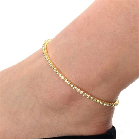 One Row Clear Crystal Silver Gold Stretch Anklet Foot. 14 Karat Gold Ankle Bracelet. Mothers Lockets. Wood Bands. Basic Beads. Wedding Bracelet. Second Hand Watches. Pink Stone Rings. Twist Bands