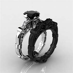 Art masters caravaggio 14k black and white gold 125 ct for Black diamond engagement and wedding ring sets